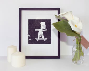 bart simpson Print - Simpsons Illustration - The Simpsons Gift - Simpsons Art -  bart - Black and White Art Print - the simpsons movie art