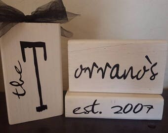 Customized Last Name Decor Wood Blocks