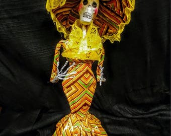 La Calavera Catrina Day of the Dead Doll Sculpte Mexican Folk Art