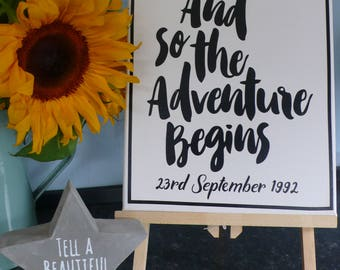 And So The Adventure Begins - canvas for new born