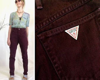 Guess Jeans, Size 27 2 3 4, 80s Jeans, High Waisted Pants, Guess, 90s Jeans, 80s, Colored Guess, Colored Jeans, Burgundy, Maroon, Oxblood