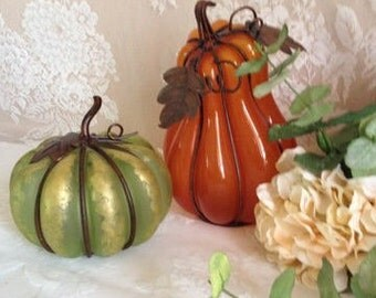 Country Cottage Glass And Metal Pumkin Art