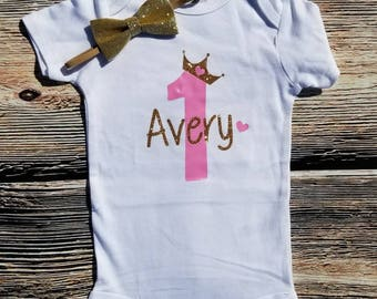1st birthday bodysuit, First birthday Princess Shirt, First Birthday Shirt