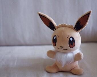 EEVEE Pokemon Handmade Plush. Beige Soft toy. Cute Anime Kawaii. Made to order