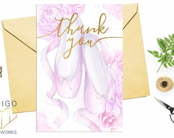 Pink and Gold Ballet Slipper Flat Thank You Card, Recital, Ballerina Birthday, Dance Birthday, Ballet Party, Toe Shoes, 4x6 Thank