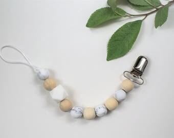 Silicone and Wooden Pacifier Clip, Bird Teether, Ring Teether, Marble Silicone Clip, White Silicone Hexagon Bead Pacifier Clip