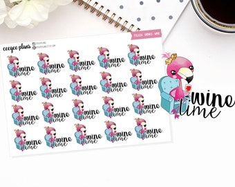 Felicia Drinks Wine | Felicia the Flamingo | 20 Wine Time Planner Stickers for ANY Planner