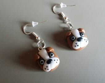 Small dog earrings in polymer clay