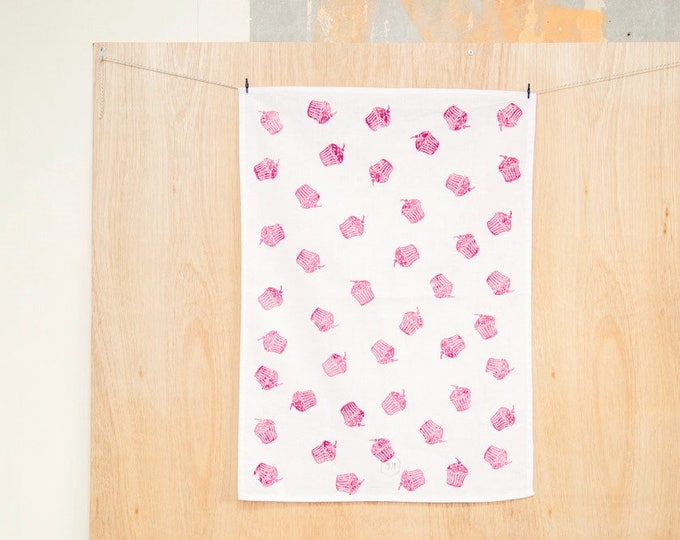 Featured listing image: Red Cupcake cotton tea towel
