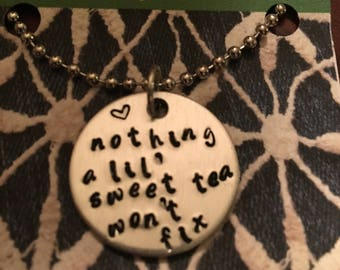 Nothing a lil' sweet tea won't fix necklace or keyring