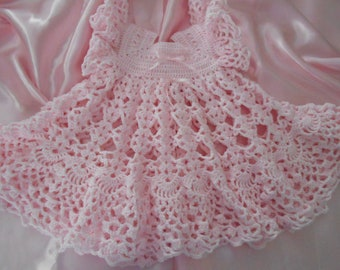Baby Pink Lacy Flutter Sleeve Baby Dress Crochet Baby Dress Photos Party  Blessing Baptism