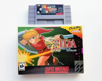 Zelda Parallel Worlds w/ Box Case - English - SNES Nintendo Custom Fan Made Hack (like Link to Past)