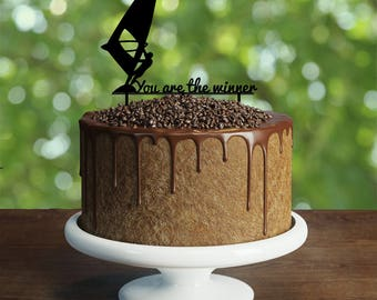 Windsurfer birthday Cake Topper- Customizable Cake Topper-Windsurfing Cake Topper-Silhouette Windsurfer Cake Topper-Personalized cake topper