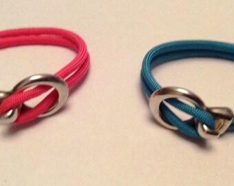 Coral pink sailor style rope bracelet
