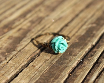 Copper Turquoise Rose Ring