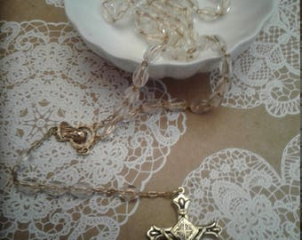 Beautiful Vintage Goldtone and Clear Rosary, Marked Italy