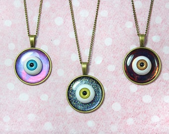 Spoopy Eyeball Halloween Duochrome Holographic Colorshift Necklaces Creepy Cute