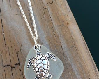 Hawaiian Sea Turtle Necklace, beach glass necklace, Sea turtle jewelry, Hawaiian jewelry, genuine sea glass jewelry, beach glass jewelry