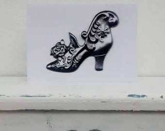 Black and White Shoe, Rococo Design, handmade greetings card, art card.