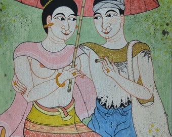 "Painting on canvas - ""lovers carefree"" - Traditional Thai painting canvas"