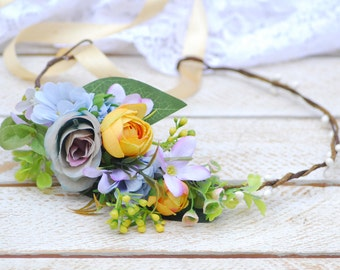 Lilac yellow flower crown Floral crown Boho wedding Winter floral crown Hair wreath Bridal floral headband Wedding wreath Bridesmaid crown