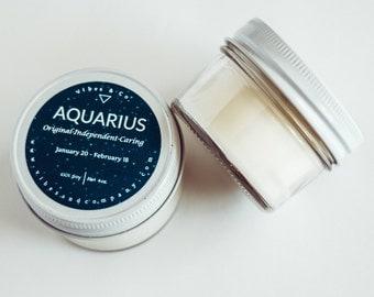 Aquarius Zodiac Scented Candle , 4oz. Birthday Soy Candle, Horoscope Birthday Gift, Personalized Candle, Birthday Present, Zodiac Candle