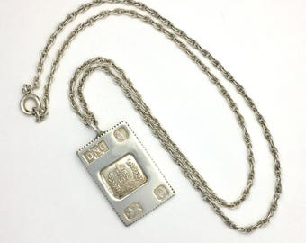 Vintage Sterling Silver 1977 Jubilee Stamp Ingot Pendant on Silver Chain Necklace