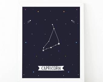 Capricorn Print, Capricorn constellation, Zodiac Constellation, zodiac Wall Art, Astrology Poster, Digital print, printable art, Nursery art