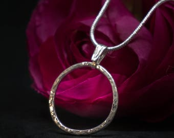 Sterling silver pendant, handmade, handcrafted, artesan made, simple, round, hand forged
