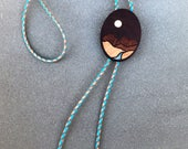 Mountain Bolo Tie - Dark Wood & Turquoise Leather Western Boho Marquetry Inlay Big Bend National Park Eco friendly Gift Donation