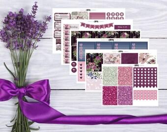Purple Rose Vertical Weekly Planner Sticker Kit -- Planner Stickers --Matte Stickers