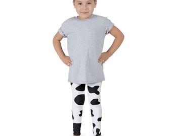 Kids cow leggings, cool kids leggings, funky kids leggings, cool kids clothes, cow print leggings