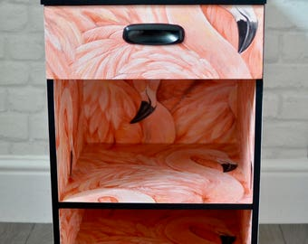 Upcycled Vintage Retro Mid Century Bedside Table, Chest of Drawers, Pink Flamingo Decoupage