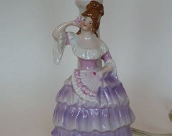 Porcelain figural boudoir lamp/Southern Victorian Woman w Purple bustle and fan/German made Marie Antoinette lamp/accent lamp/Shabby Chic