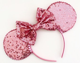 The Full Sequin (Pale Pink) - Handmade Sequin Mouse Ears Headband