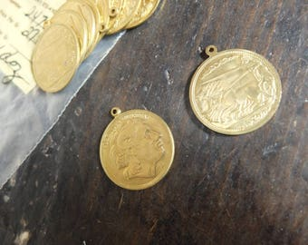 Vintage Brass Stamping Blanks (10) Art Deco, Steam Punk, Assemblage Supply, Jewellery Supply, Charm: STYLE 003 'Alexander the Great' Coins