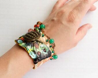 Mariposa - Beaded Textile Cuff Bracelet - Tribal Bellydance Jewelry Ethnic Boho button closure - mustard gold green Handmade in Kansas, USA