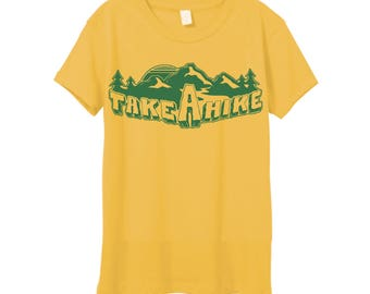 Womens Retro TAKE a HIKE 70s Vintage Inspired Short Sleeve Tee in Super Soft Cotton, Made in the USA