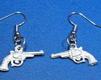 Pewter Hand Gun Earrings