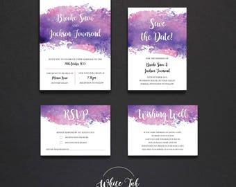 Printable Wedding Invitation Template DIY Print at Home Invitation Set Wedding Invites Water Colour
