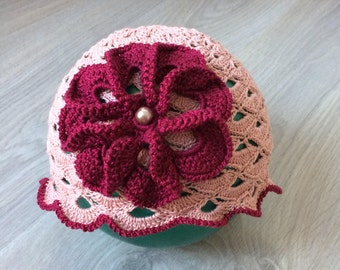 Crochet summer hat with big flower for baby girl, summer hat, openwork hat