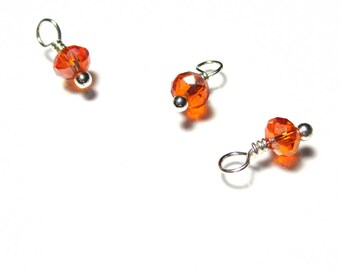 10PC. Translucent orange AB Austrian Crystal Bead Dangle/Delicate Handmade Crystal Bead/Bead Charm with your Choice of Accent Finish