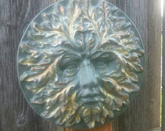 Greenman Plaque -  Face Outdoor Plaque -  Garden Cement Statue -  Garden Deity - Garden Statue- Handmade Wall Plaque- Cement Garden Statue