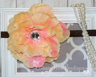 Peach Flower Baby Headband, Fall Headband Newborn, Newborn Photo Prop, Baby Headband, Baby Girl Headband, Flower Headband with xl flower