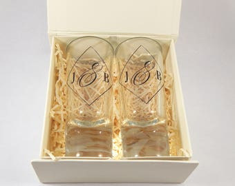 Personalised Initial Shot Glasses with Gift Box - Gorgeous Wedding Gift/Favour