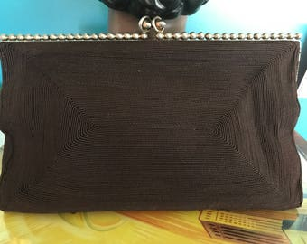 40's Chocolate Brown Rayon Cord Clutch with Unique Metal Accents