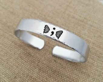 Semicolon Bracelet - Butterfly Semi Colon Gift - Hand Stamped Jewelry - The Semicolon Project