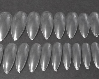 DIY Artificial LONG Nails | Full Cover Nail Set | For Do It Yourself Nail Art Project | Oval Stiletto Long Length Clear Nails | Set of 40