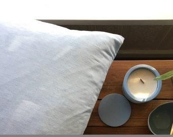 Chambray blue linen cushion