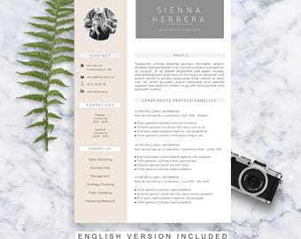 CV Template Sienna | Resume Format | Cover Letter | in English and French | Microsoft Word | Instant Download